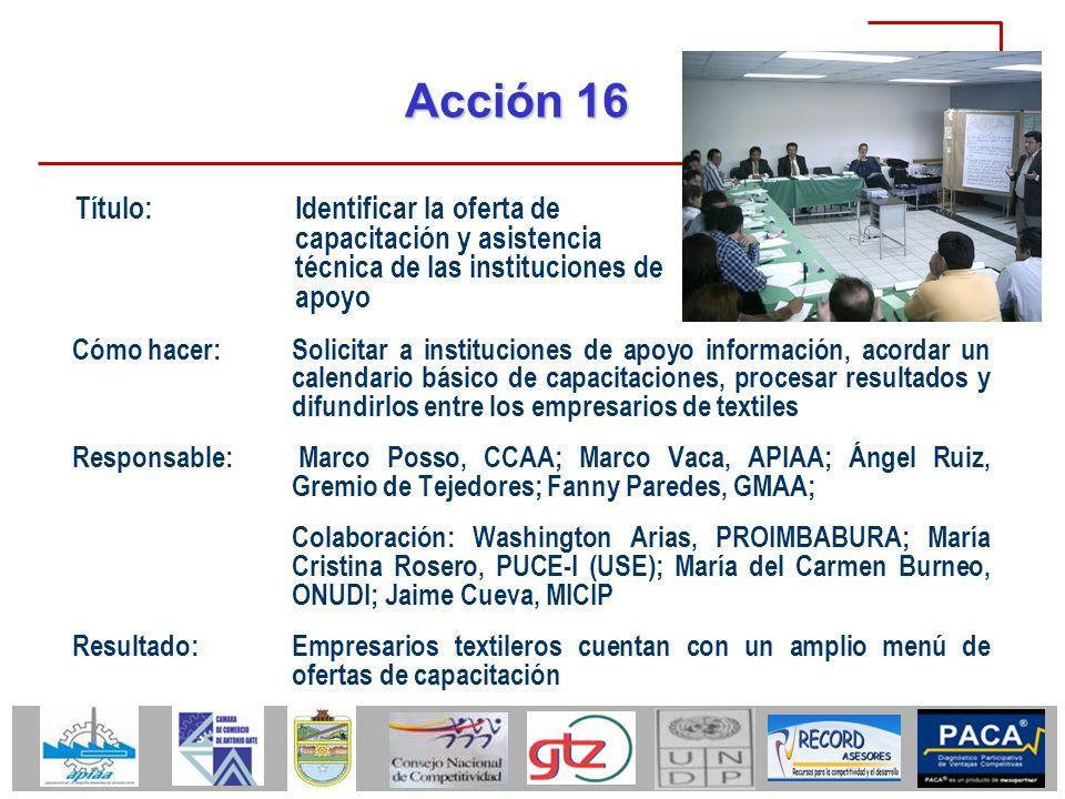 Acción 16 Título: Identificar la oferta de capacitación y asistencia técnica de las instituciones de apoyo.