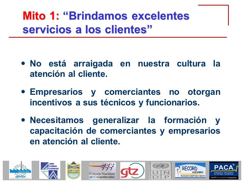 Mito 1: Brindamos excelentes servicios a los clientes