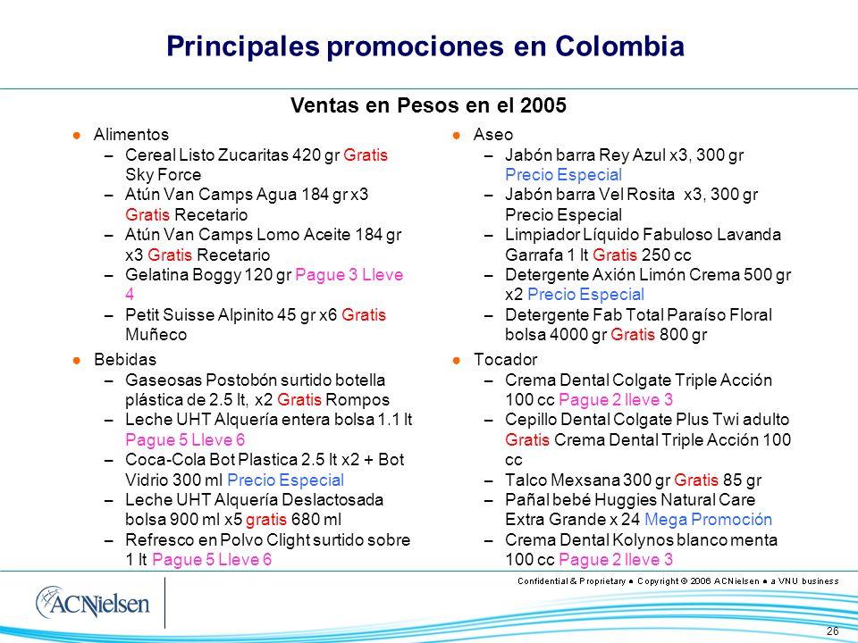 Principales promociones en Colombia