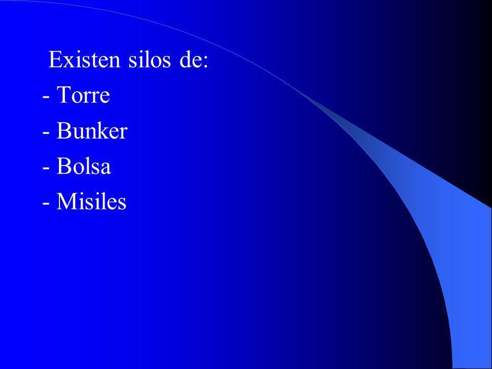 Existen silos de: - Torre - Bunker - Bolsa - Misiles