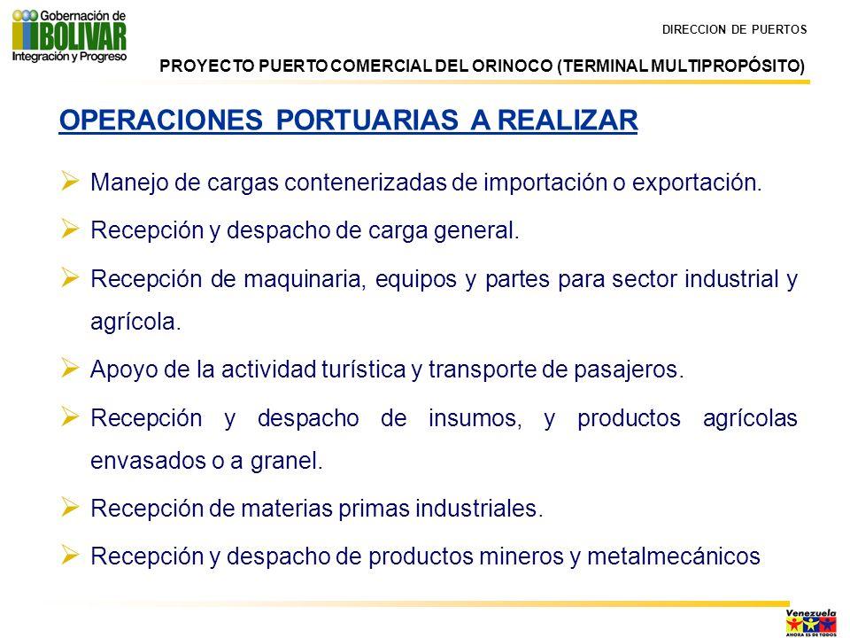 OPERACIONES PORTUARIAS A REALIZAR