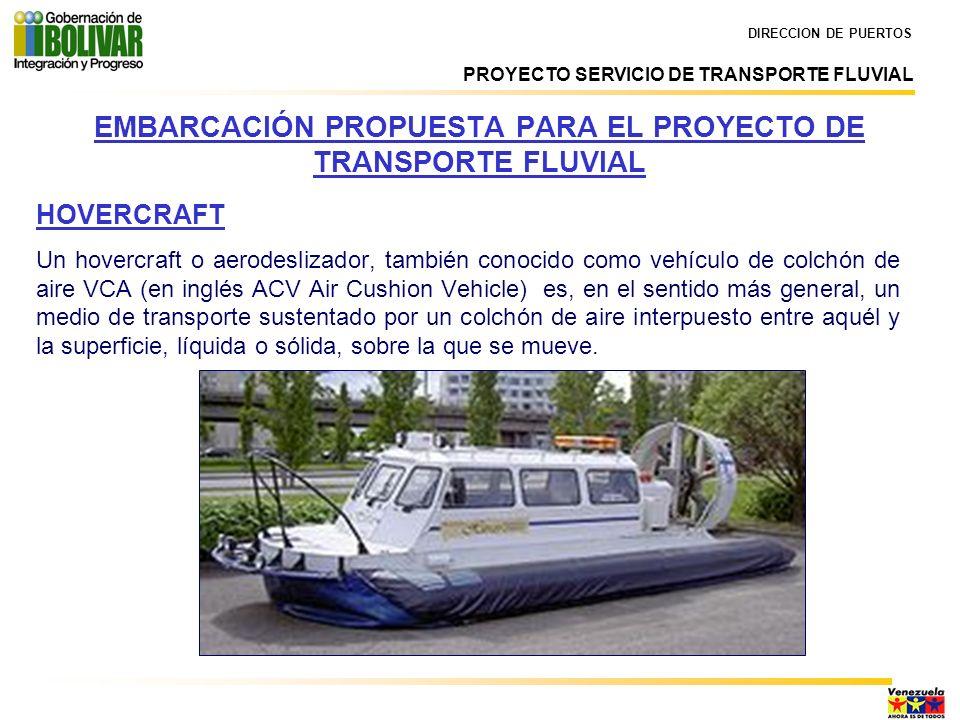 EMBARCACIÓN PROPUESTA PARA EL PROYECTO DE TRANSPORTE FLUVIAL