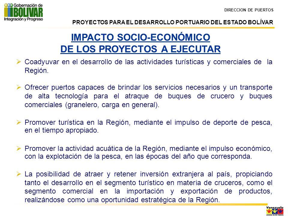 IMPACTO SOCIO-ECONÓMICO DE LOS PROYECTOS A EJECUTAR