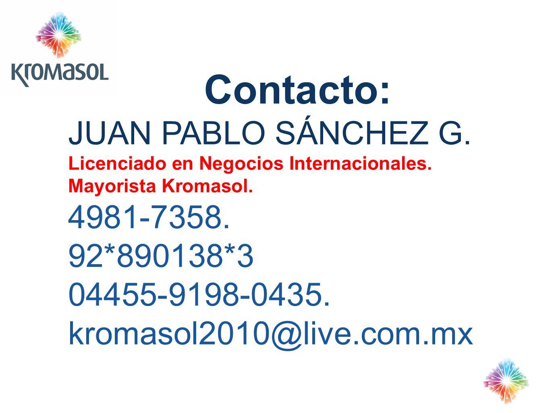 Contacto: JUAN PABLO SÁNCHEZ G. 4981-7358. 92*890138*3