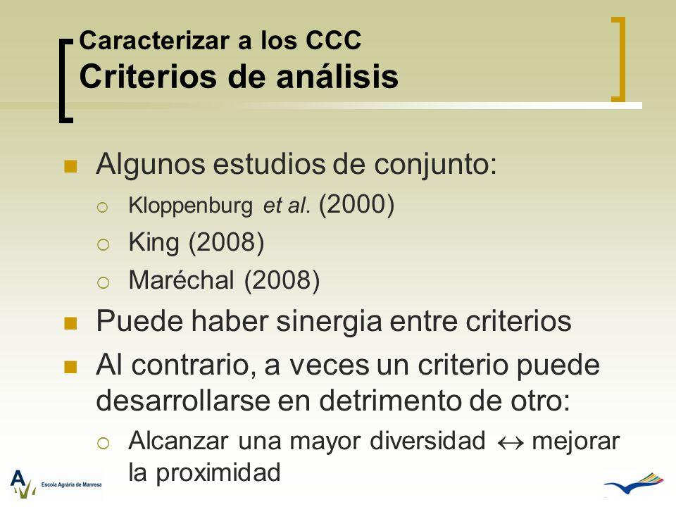 Caracterizar a los CCC Criterios de análisis