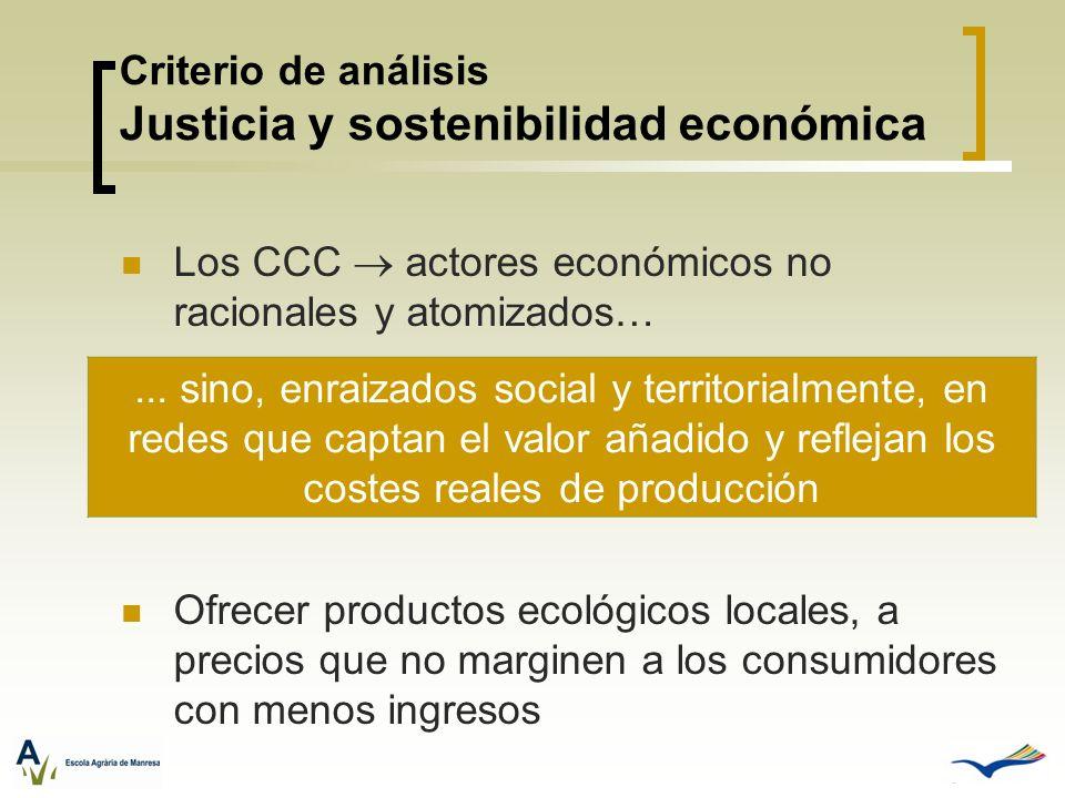 Criterio de análisis Justicia y sostenibilidad económica