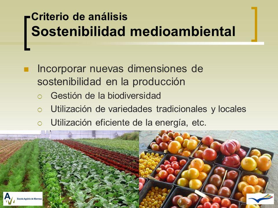 Criterio de análisis Sostenibilidad medioambiental