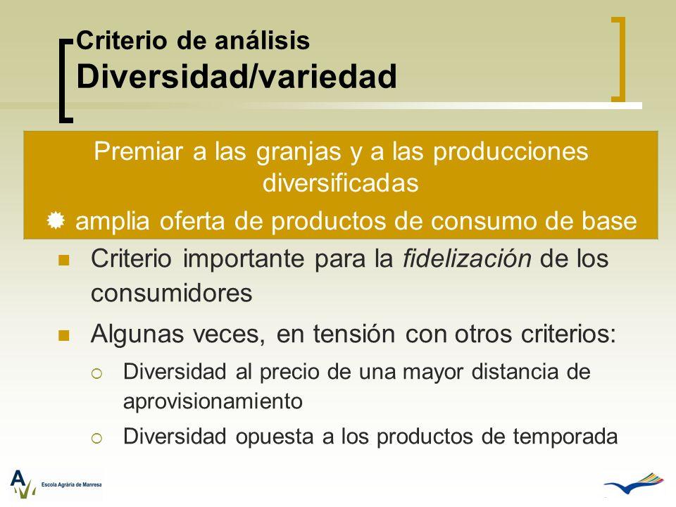 Criterio de análisis Diversidad/variedad