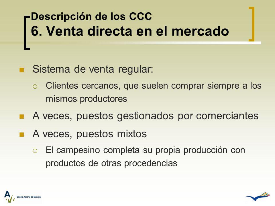 Descripción de los CCC 6. Venta directa en el mercado