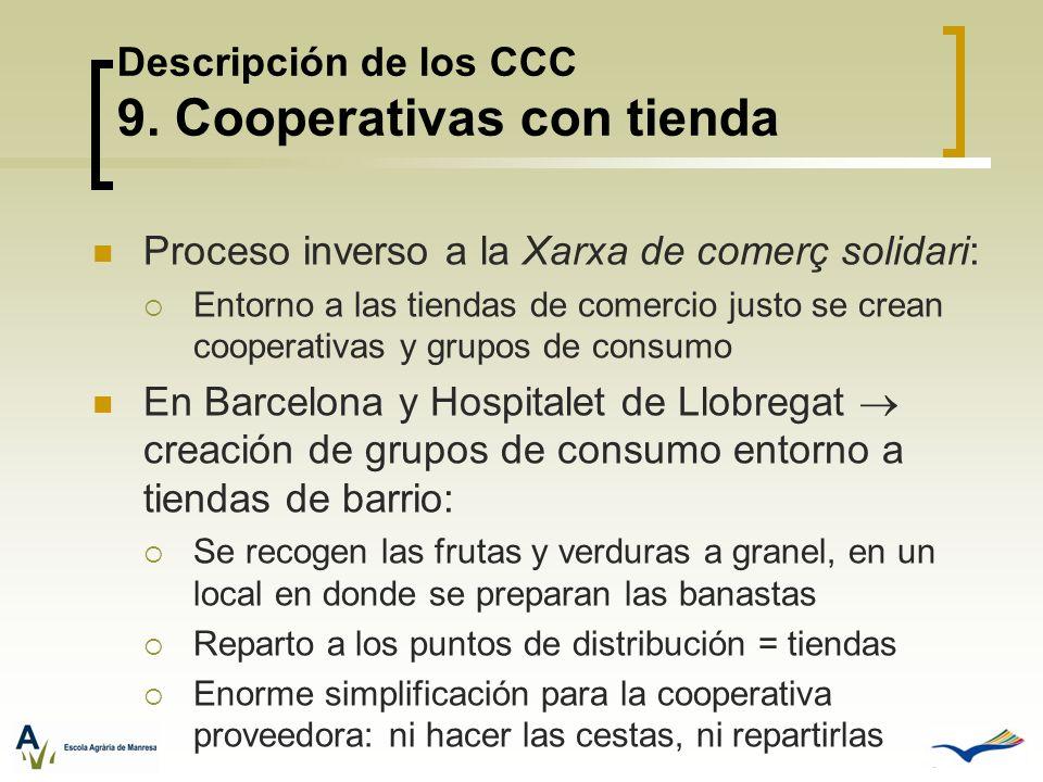 Descripción de los CCC 9. Cooperativas con tienda