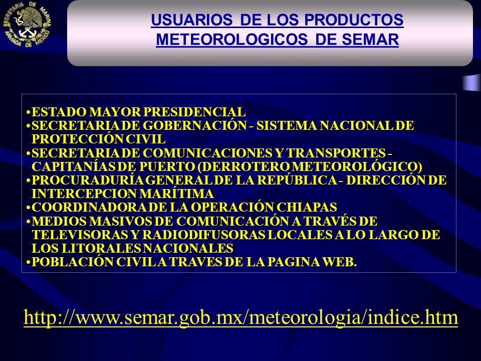 USUARIOS DE LOS PRODUCTOS METEOROLOGICOS DE SEMAR