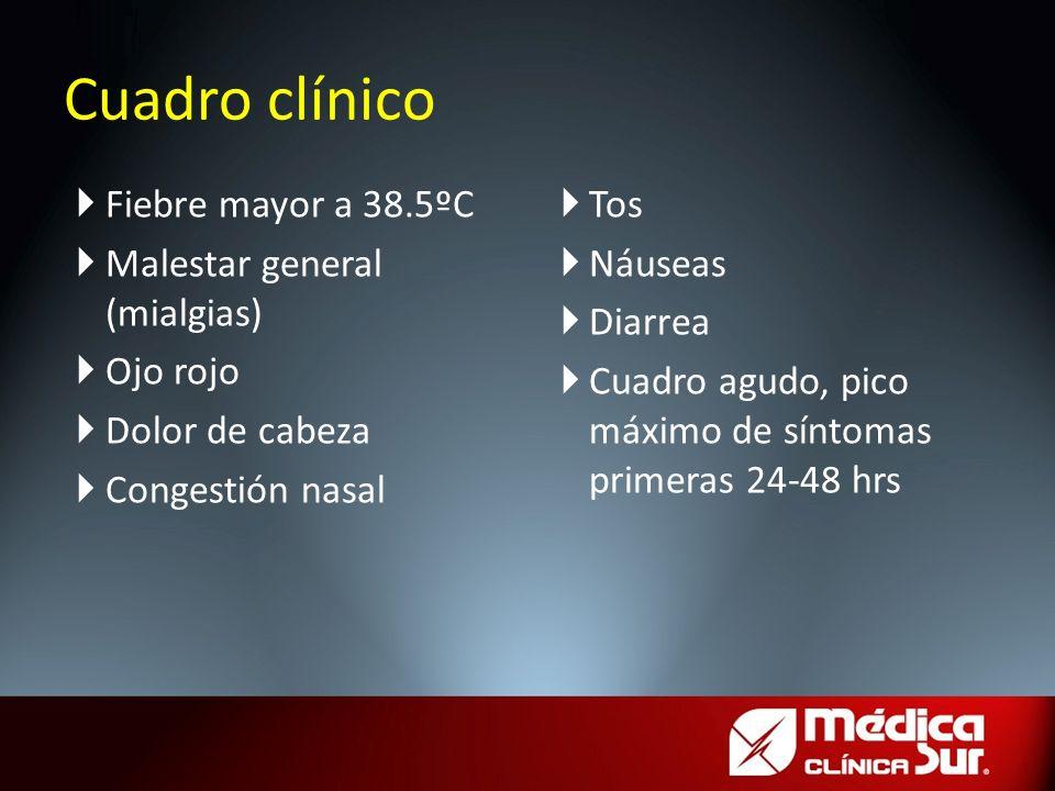Cuadro clínico Fiebre mayor a 38.5ºC Malestar general (mialgias)