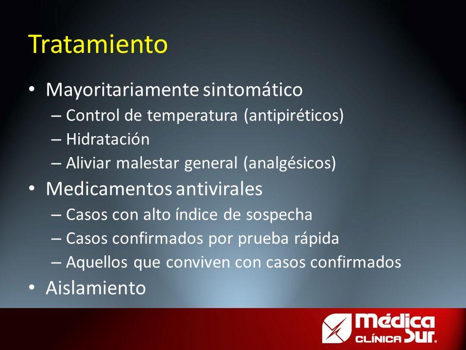 Tratamiento Mayoritariamente sintomático Medicamentos antivirales