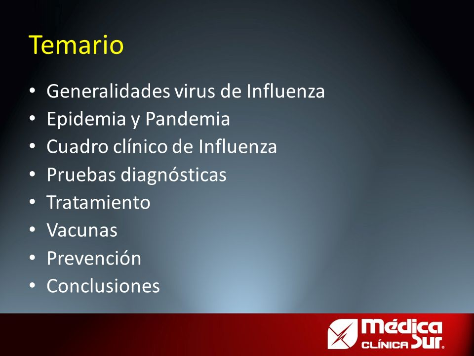 Temario Generalidades virus de Influenza Epidemia y Pandemia