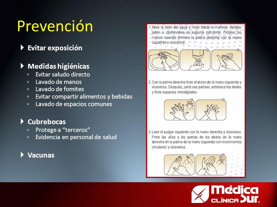 Prevención Evitar exposición Medidas higiénicas Cubrebocas Vacunas