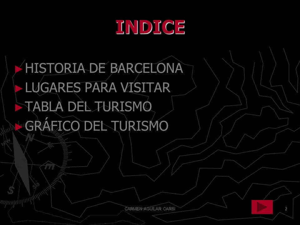 INDICE HISTORIA DE BARCELONA LUGARES PARA VISITAR TABLA DEL TURISMO