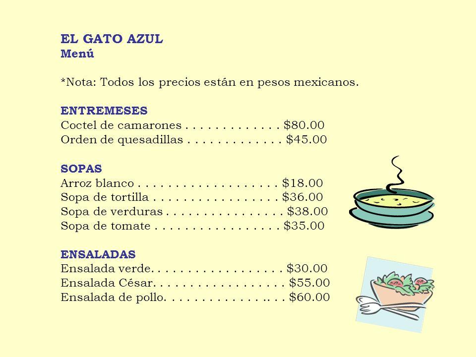 EL GATO AZUL Menú *Nota: Todos los precios están en pesos mexicanos.
