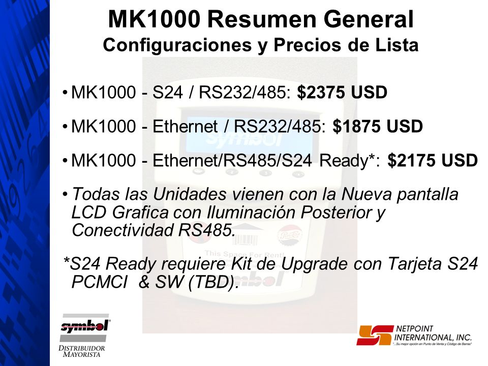 MK1000 Resumen General Configuraciones y Precios de Lista