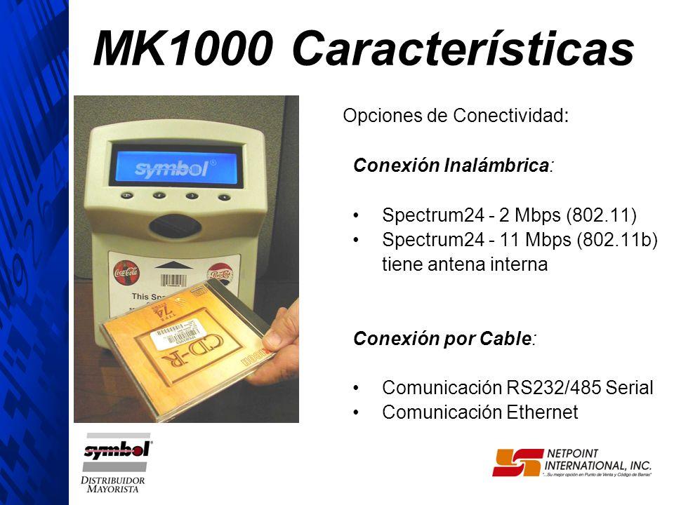 MK1000 Características Opciones de Conectividad: Conexión Inalámbrica: