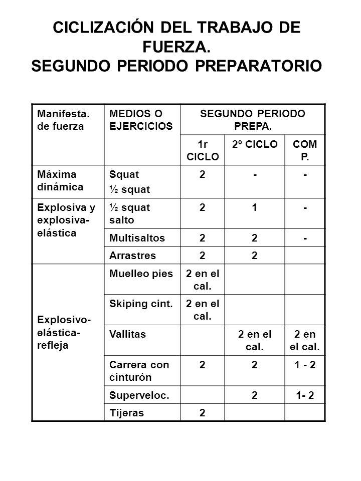 CICLIZACIÓN DEL TRABAJO DE FUERZA. SEGUNDO PERIODO PREPARATORIO