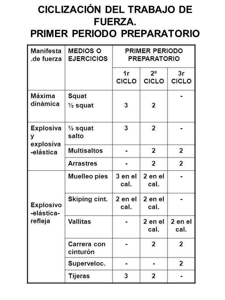 CICLIZACIÓN DEL TRABAJO DE FUERZA. PRIMER PERIODO PREPARATORIO