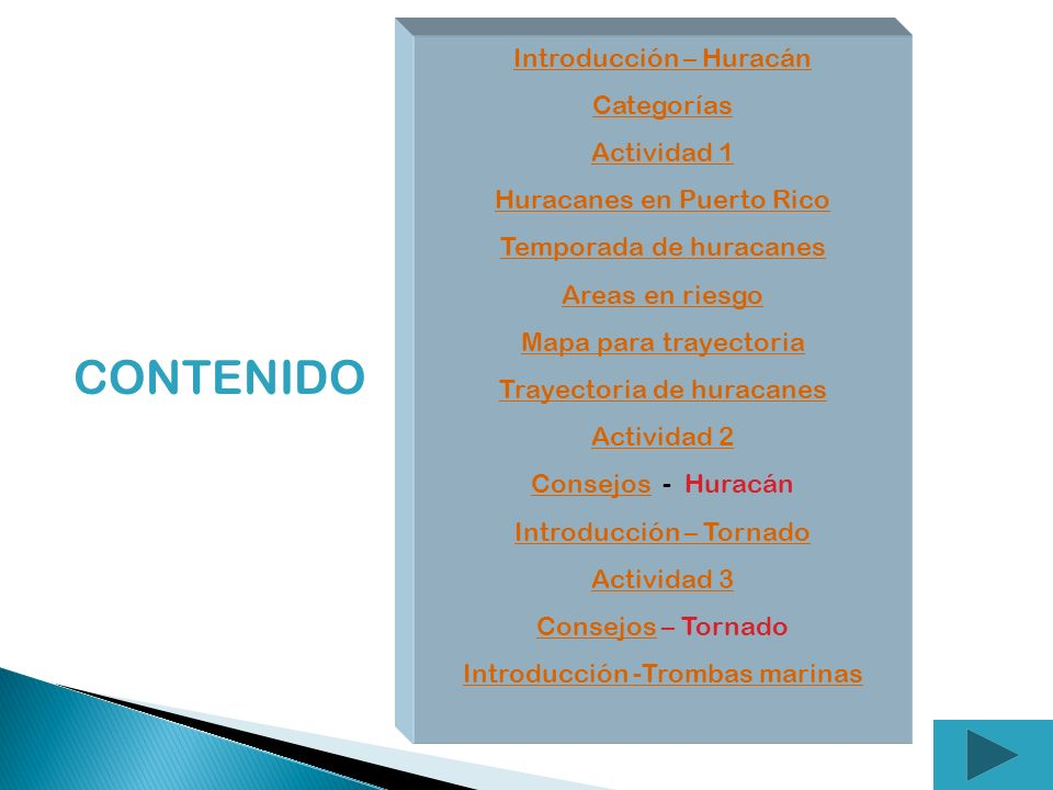 CONTENIDO Introducción – Huracán Categorías Actividad 1