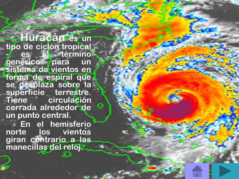 Huracán es un tipo de ciclón tropical - es el término genérico para un sistema de vientos en forma de espiral que se desplaza sobre la superficie terrestre.