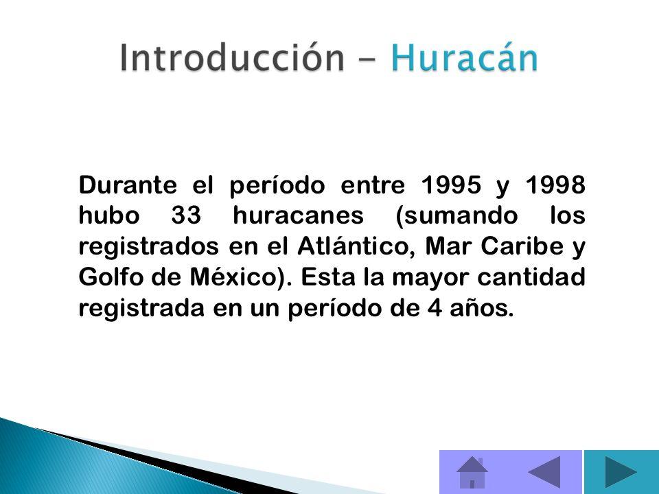 Durante el período entre 1995 y 1998 hubo 33 huracanes (sumando los registrados en el Atlántico, Mar Caribe y Golfo de México).
