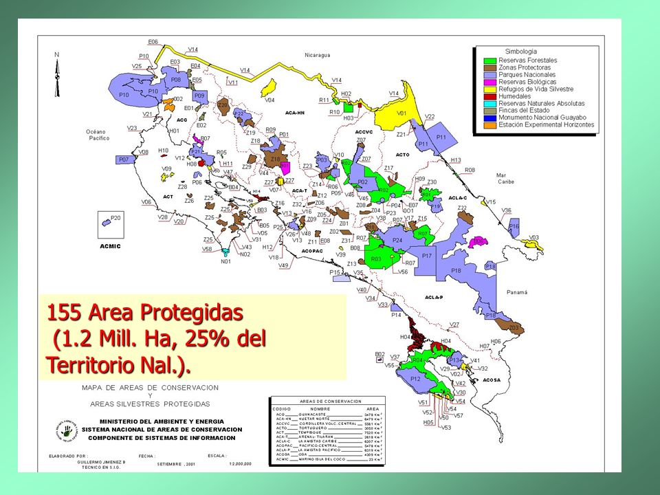 mapa 155 Area Protegidas (1.2 Mill. Ha, 25% del Territorio Nal.).