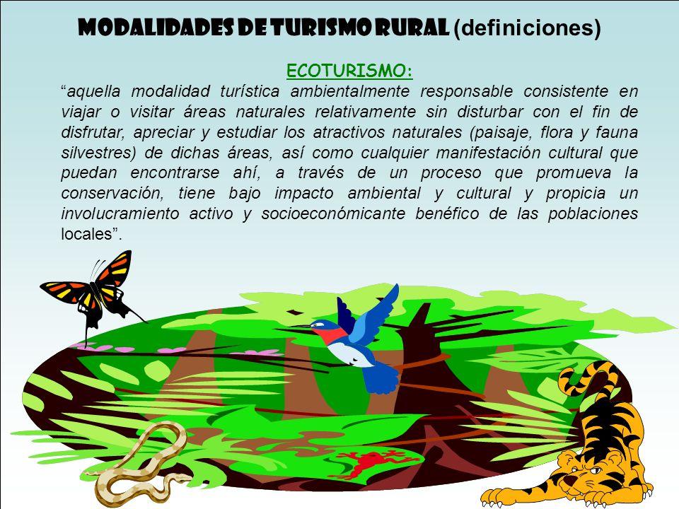 MODALIDADES DE TURISMO RURAL (definiciones)