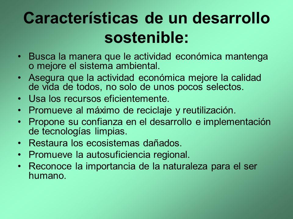 Características de un desarrollo sostenible: