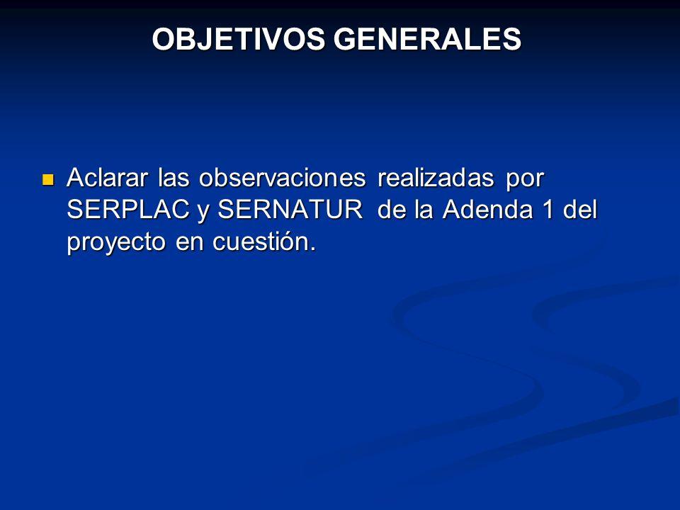 OBJETIVOS GENERALES Aclarar las observaciones realizadas por SERPLAC y SERNATUR de la Adenda 1 del proyecto en cuestión.