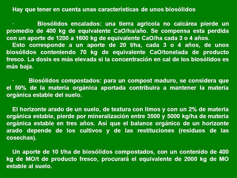Hay que tener en cuenta unas características de unos biosólidos