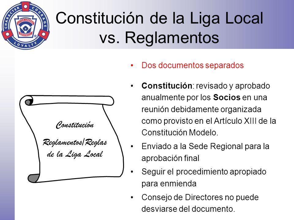 Constitución de la Liga Local vs. Reglamentos