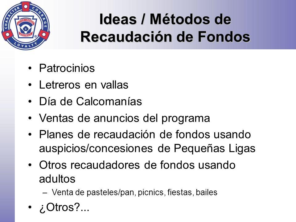 Ideas / Métodos de Recaudación de Fondos