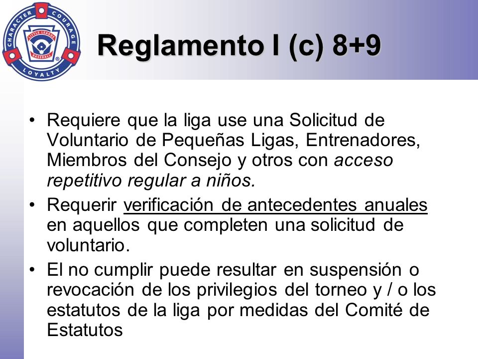 Reglamento I (c) 8+9