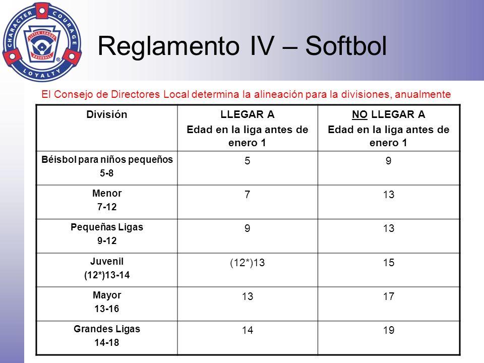 Reglamento IV – Softbol