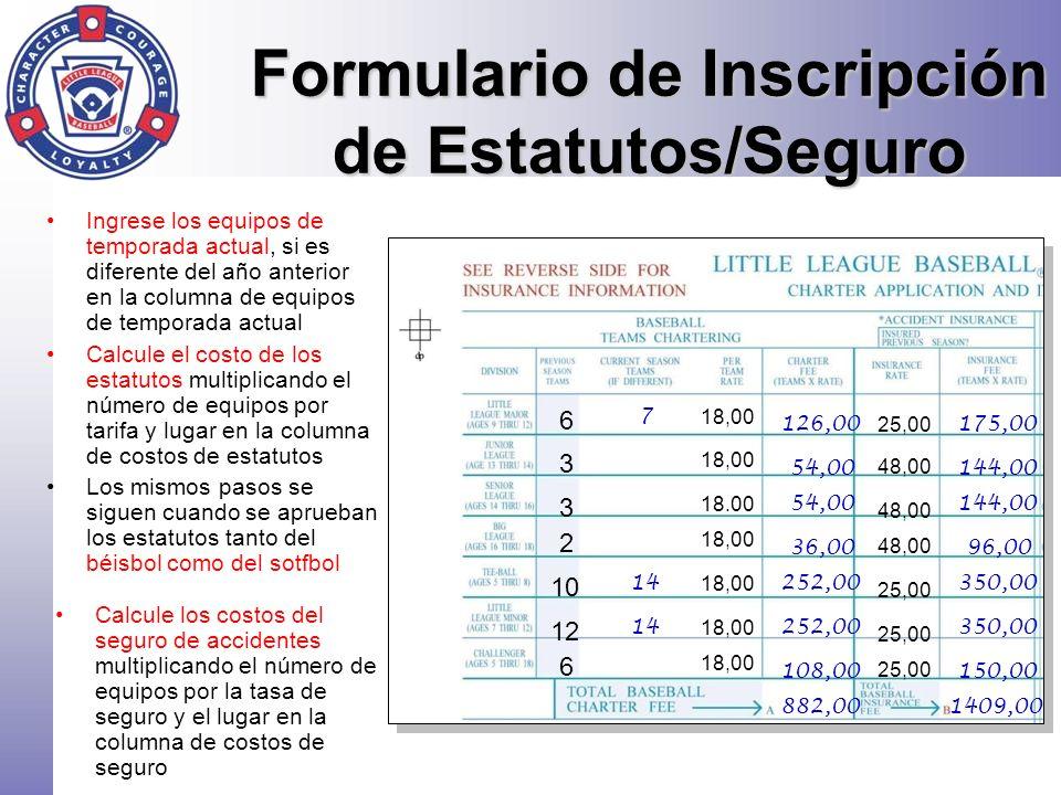 Formulario de Inscripción de Estatutos/Seguro