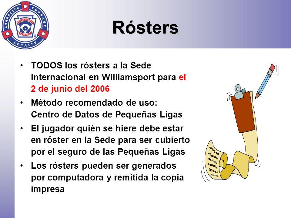 Rósters TODOS los rósters a la Sede Internacional en Williamsport para el 2 de junio del 2006.