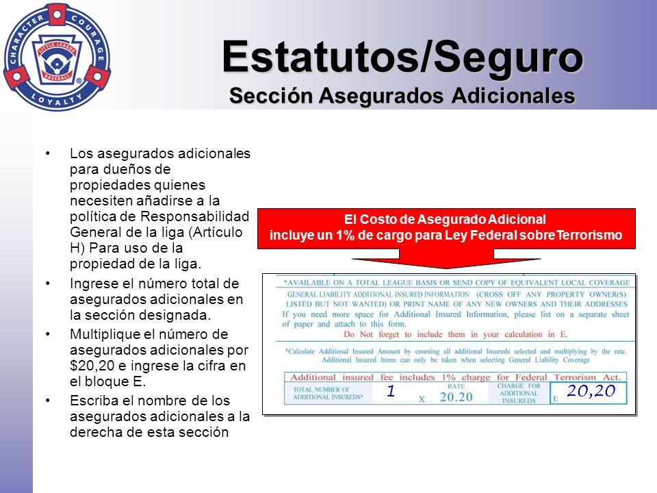 Estatutos/Seguro Sección Asegurados Adicionales