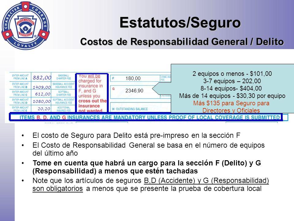 Estatutos/Seguro Costos de Responsabilidad General / Delito