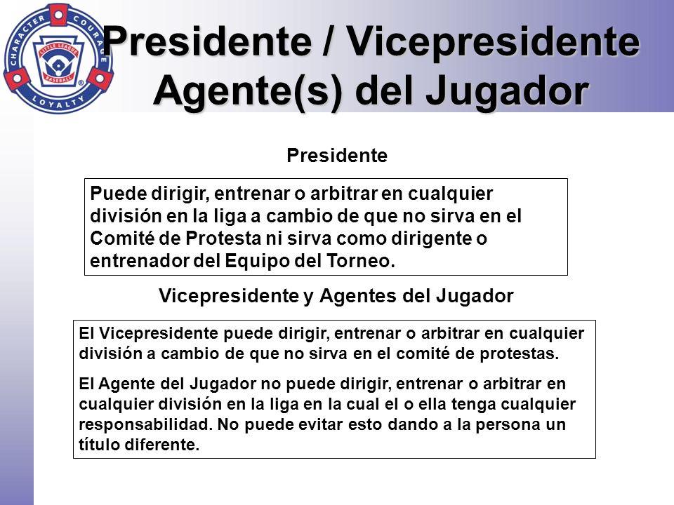 Presidente / Vicepresidente Agente(s) del Jugador