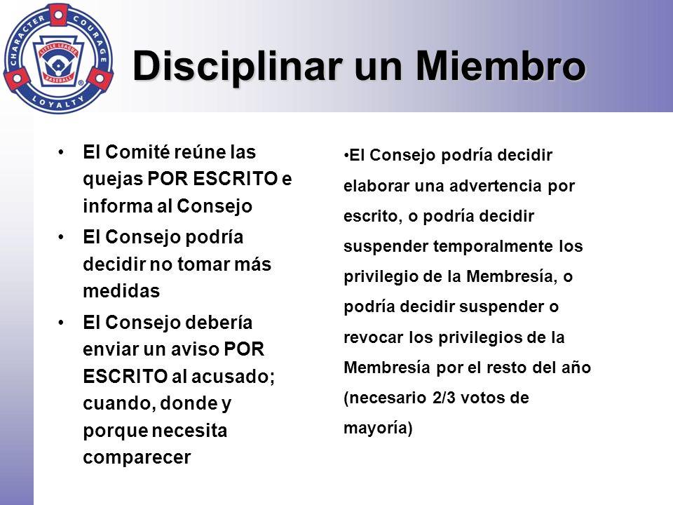 Disciplinar un Miembro