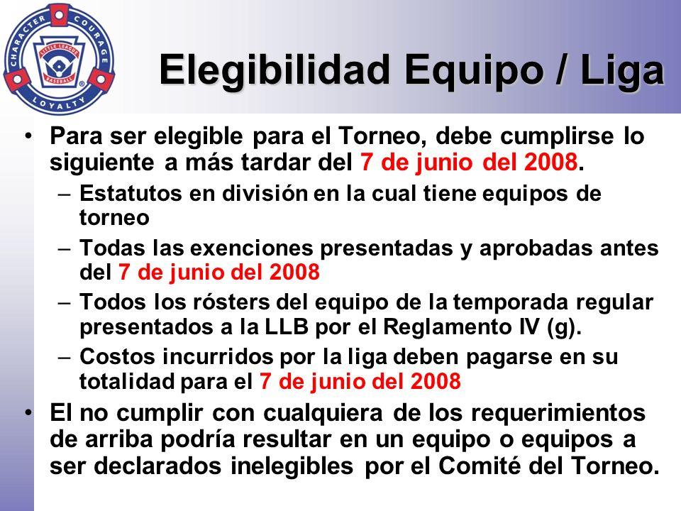 Elegibilidad Equipo / Liga