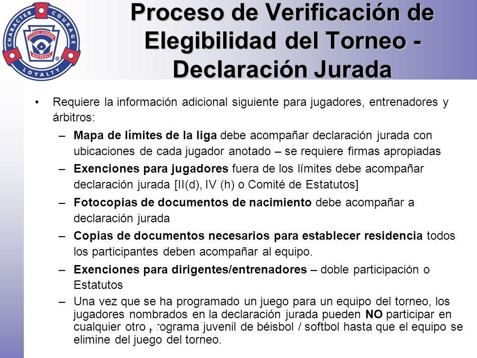 Proceso de Verificación de Elegibilidad del Torneo - Declaración Jurada
