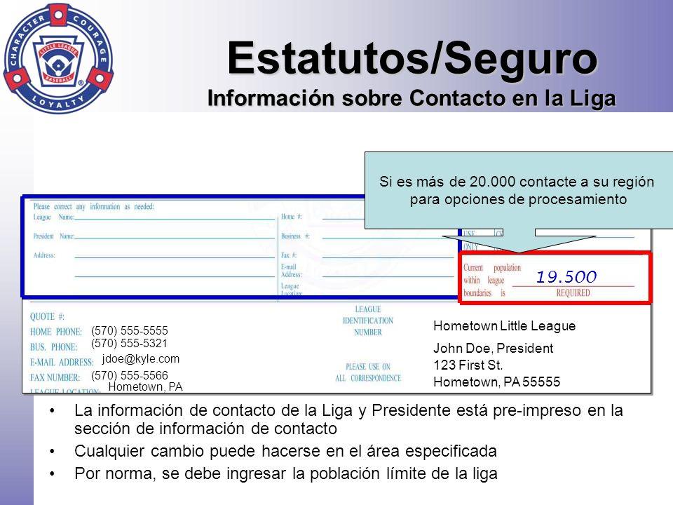 Estatutos/Seguro Información sobre Contacto en la Liga