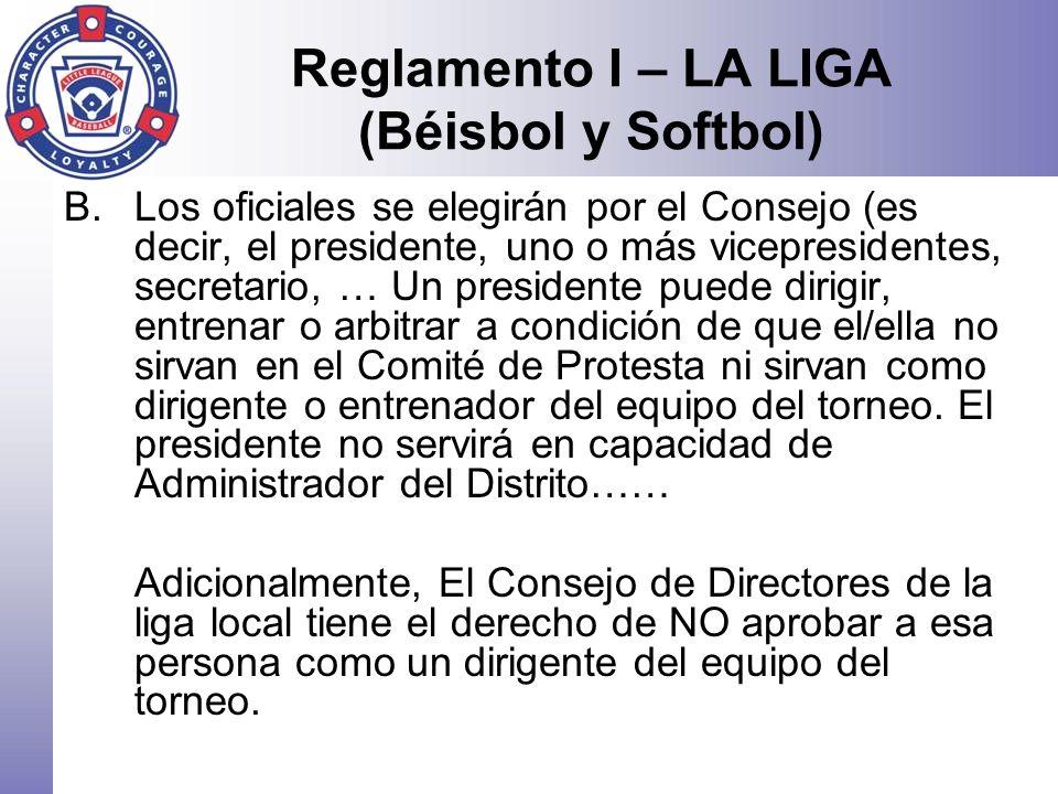 Reglamento I – LA LIGA (Béisbol y Softbol)