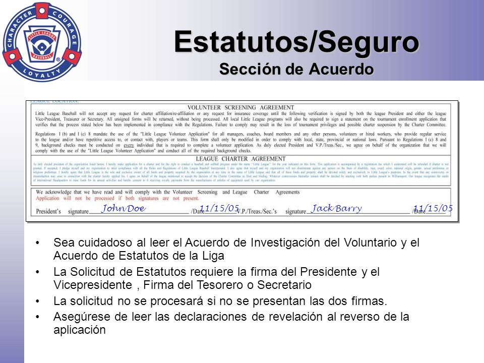 Estatutos/Seguro Sección de Acuerdo