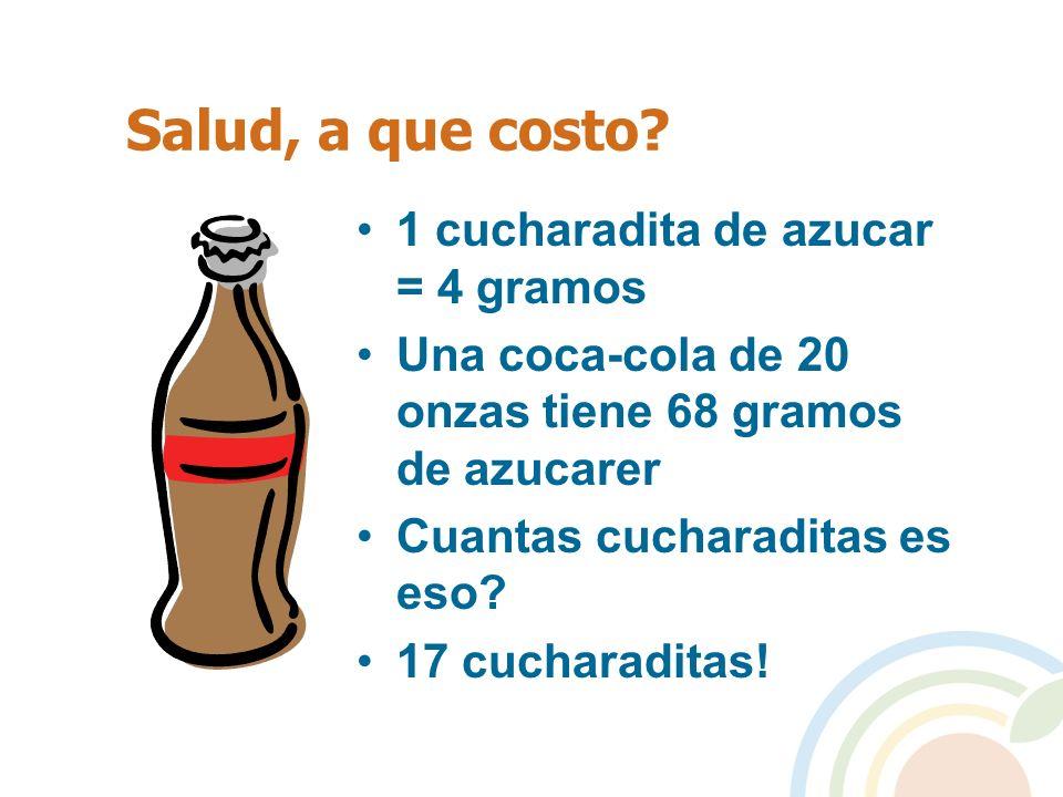 Salud, a que costo 1 cucharadita de azucar = 4 gramos