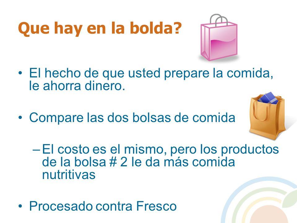 Que hay en la bolda El hecho de que usted prepare la comida, le ahorra dinero. Compare las dos bolsas de comida.